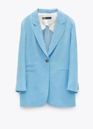 Удлиненный льняной пиджак бирюзового цвета zara