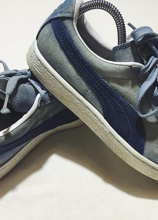Женские замшевые кроссовки (кеды) puma ( пума 39рр 25см оригинал сине-голубые)