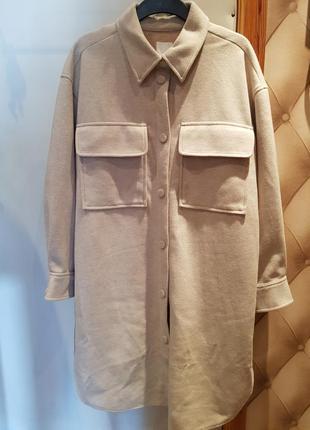 Удлиненное пальто-рубашка h&m