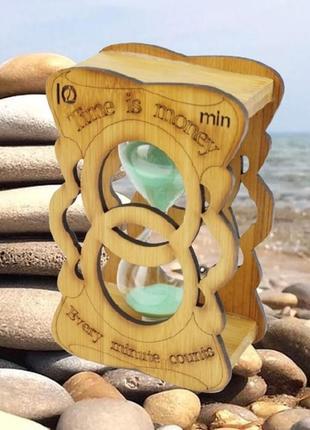 Песочные часы бесконечность стекло + бамбук