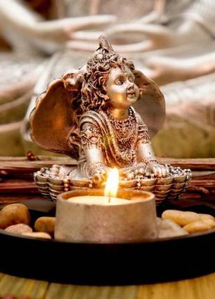 Сувенир буддийский кришна в раковине + подсвечник