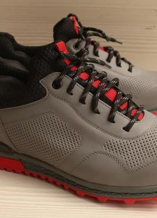 Кроссовки мужские спортивные туфли серые натуральная кожа mida