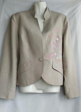Пиджак р.14 (евро р.42) next женский 100% лен вышивка, замеры