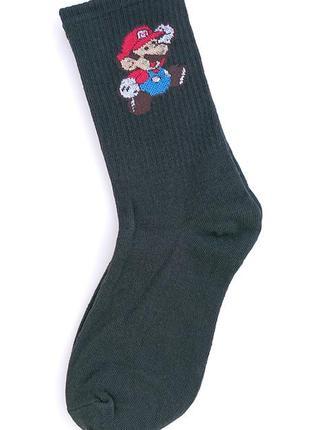 🎮черные женские носки с марио, высокие носки с резинкой, женские носки с рисунком🏃