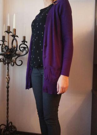 Кардиган .кофта,свитер -цвет темной сирени. 14-16р.