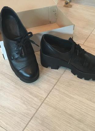 Чёрные кожаные туфли полуботинки оксфорды (бесплатная доставка)