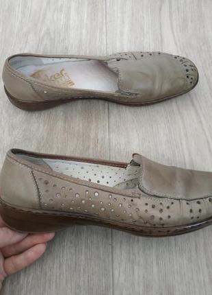 Кожаные туфли,мокасины rieker р.41 кожа