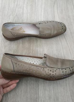 Кожаные туфли,мокасины rieker р.40-41
