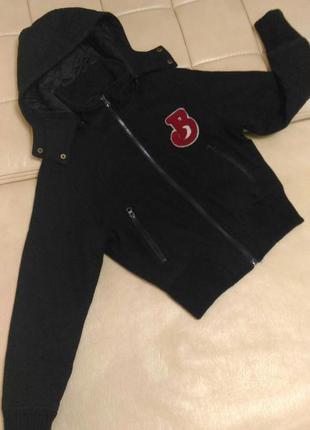 Куртка бомбер, шерсть, утеплённая, р.s