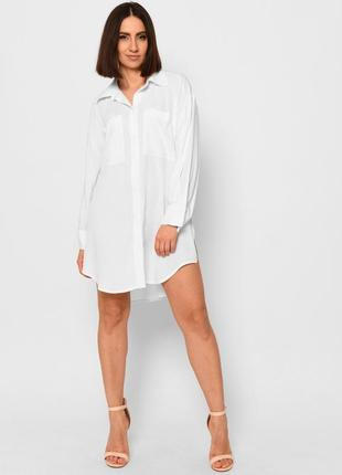Стильное белое платье-рубашка