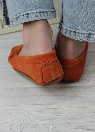 Балетки мокасины женские оранжевые из экозамши5 фото