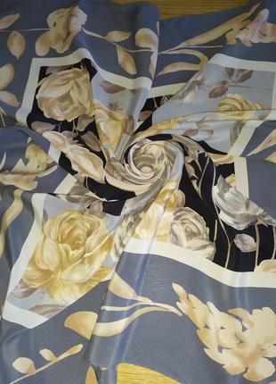 Loredano шикарный платок из натурального шелка,винтаж, шов роуль