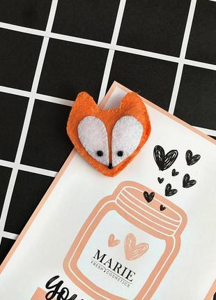 Брошь лиса, брошка лисичка, из фетра оранжевая fox фетр пин значек значок
