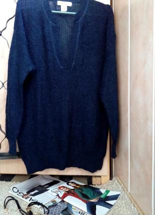 H&m мохеровый свитер оверсайз темно-синего цвета