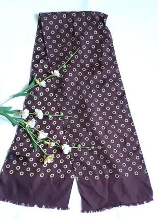 Бордово-коричневый шелковый шарфик (21 см на 122см)