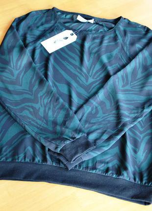 Шифоновая зеленая блузка зебра costes р. s-m