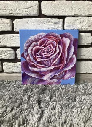 Картина маслом «роза», 20*20см