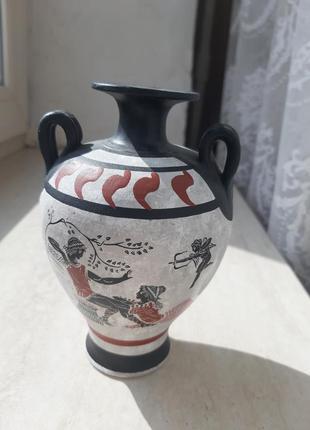 Амфора греческая глечик ваза вазочка сувенир серая черная красная
