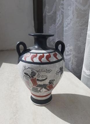 Амфора греческая глечик ваза вазочка сувенир серая черная красная2 фото