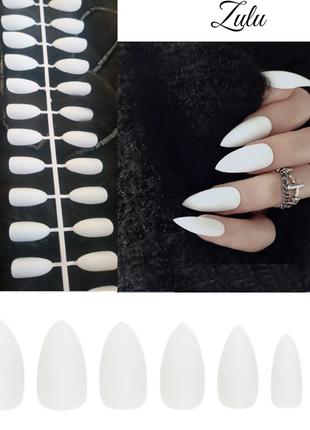 Накладные ногти матовые белого цвета 24 шт