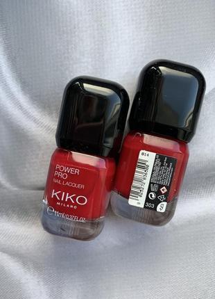 Стойкий классический красный лак для ногтей kiko milano power pro