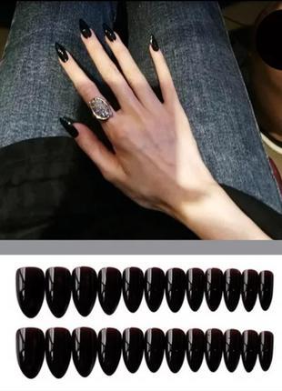 Накладные ногти 🖤 черного цвета 24 шт миндаль