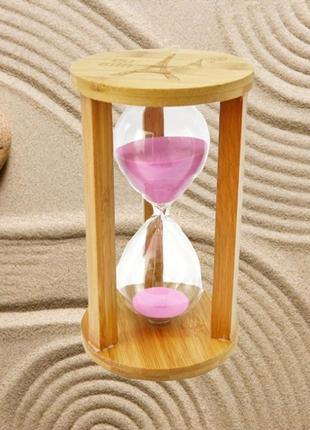 Песочные часы круг стекло + бамбук 60 минут