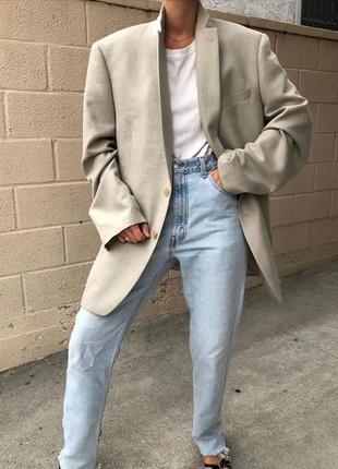 Офигенный бежевый льняной оверсайз пиджак жакет от бренда next