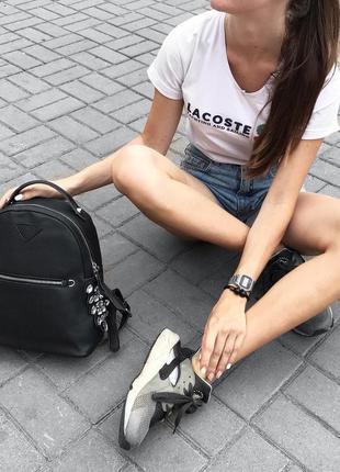 Рюкзак, рюкзачок, портфель стильный с камнями черный