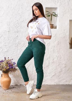 Стильные зеленые джоггеры, вельвет2 фото