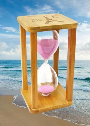 Песочные часы квадрат стекло + бамбук 60 минут
