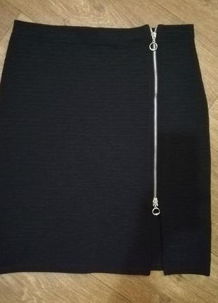 Юбка женская чёрная мини короткая на молнии