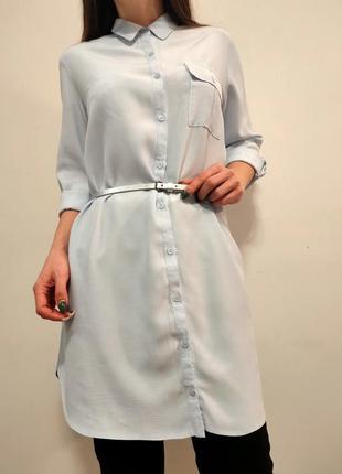 Бомбезная нежная рубашка платье туника голубая