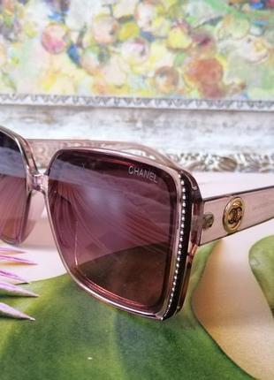 Крупные квадратные розовые прозрачные брендовые женские солнцезащитные очки