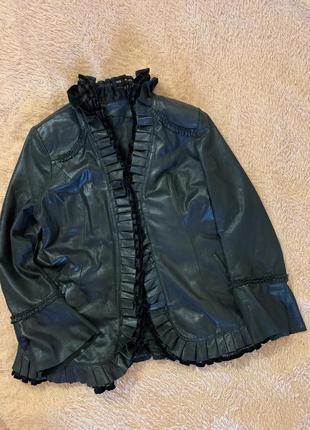 Кожаная куртка, кардиган с лазерным напылением, большой размер