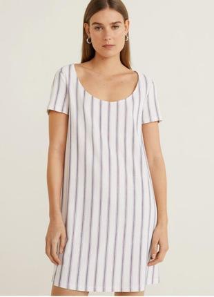 Платье из трикотажа, белое платье в полоску стильное удобное, оверсайз, легкое mango.