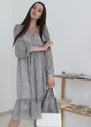 Шифоновое лёгкое платье с длинным рукавом воланы в цветочек