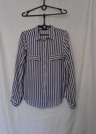 Zara basic / натуральная рубашка в полоску