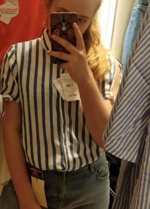 Льняная рубашка в полоску 💙