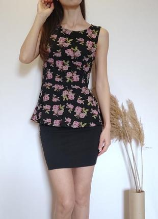 Костюм юбка и блуза, баска, трикотажная юбка