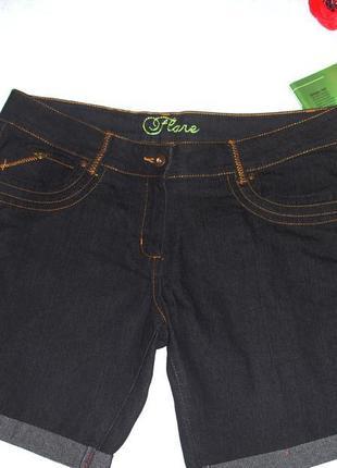 Женские шорты джинсовые размер 48 / 14 темно-синие средней длины джинс удобные