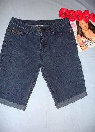 Женские шорты джинсовые размер 48 / 14 средней длины темные на каждый день классика