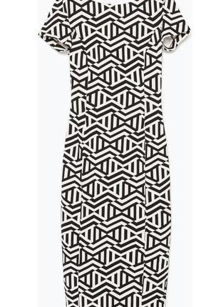Платье карандаш zara trafaluc black & white geometric pencil dress