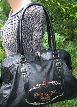 Большущая практичная сумка саквояж prada,уценка-50%