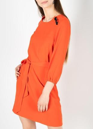 Оранжевое платье от vila легкое летнее однотонное новое