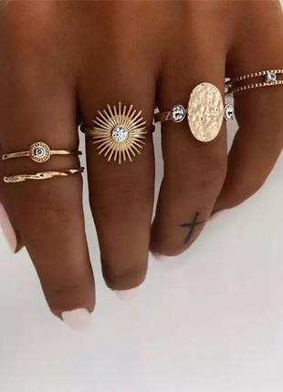 Набор из пяти колец, кольца  кольцо в стиле бохо колечко