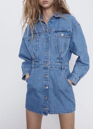 Джинсовое платье zara xs размер