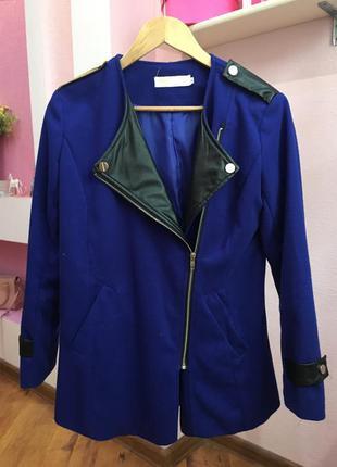 Синее пальто пиджак жакет