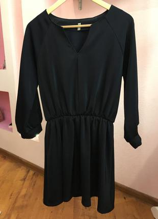 Темно синее нарядное платье