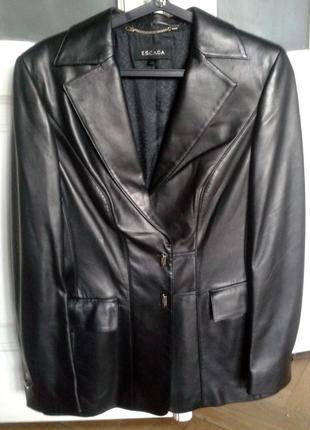 Пиджак кожаный, женский , escada